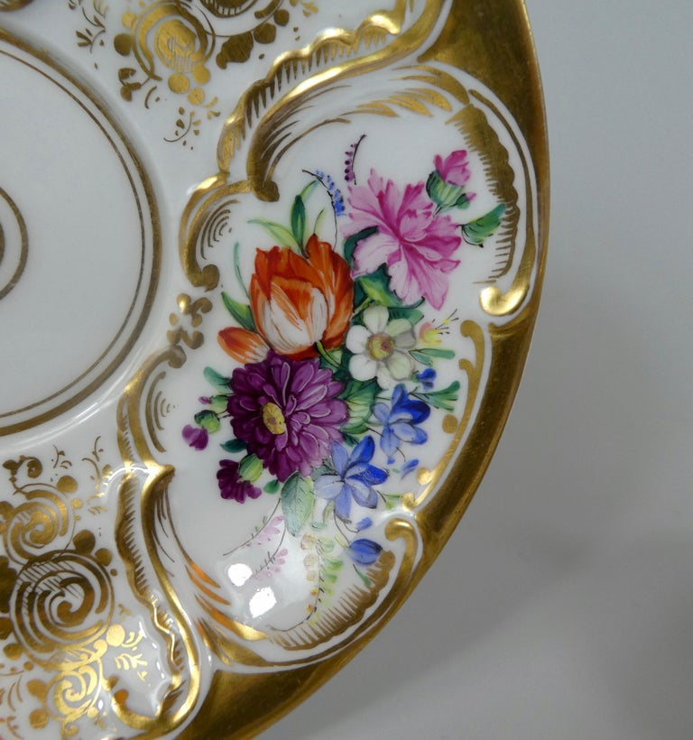 German KPM Berlin Porcelain Chocolate Cup, Cover and Stand, circa 1860