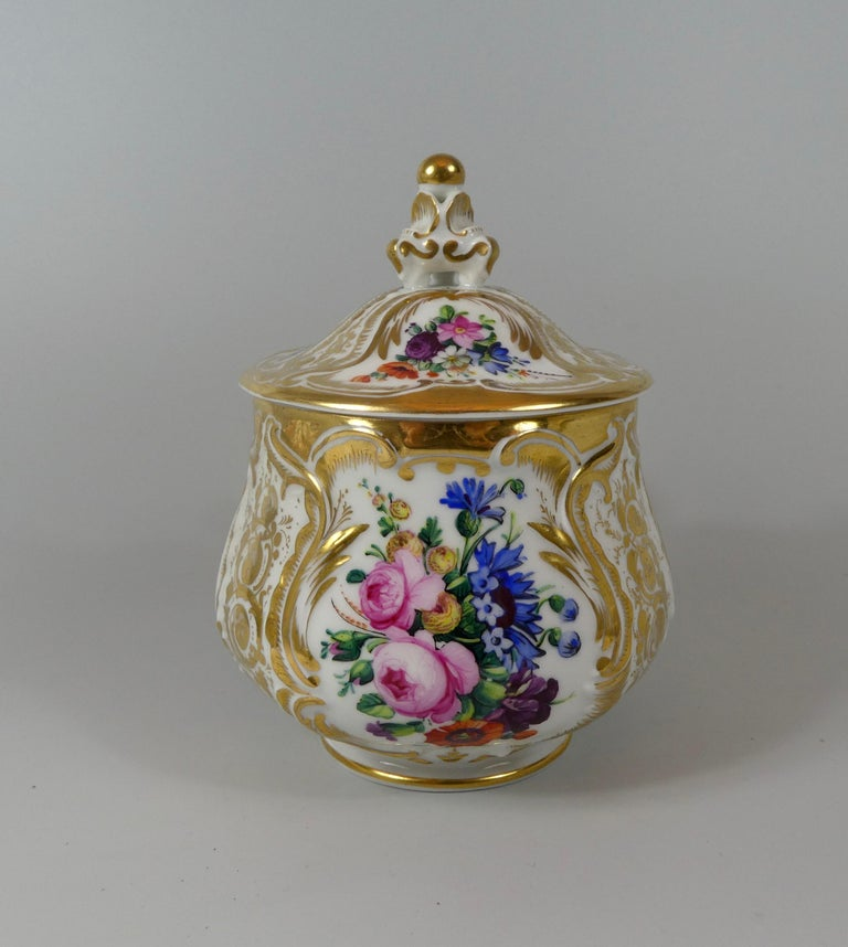Mid-19th Century KPM Berlin Porcelain Chocolate Cup, Cover and Stand, circa 1860