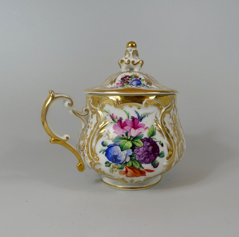 KPM Berlin Porcelain Chocolate Cup, Cover and Stand, circa 1860 2