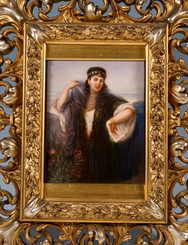 Biedermeier KPM Berlin Porcelain Picture Plaque Portrait of a Girl with Veil, ca 1830 For Sale