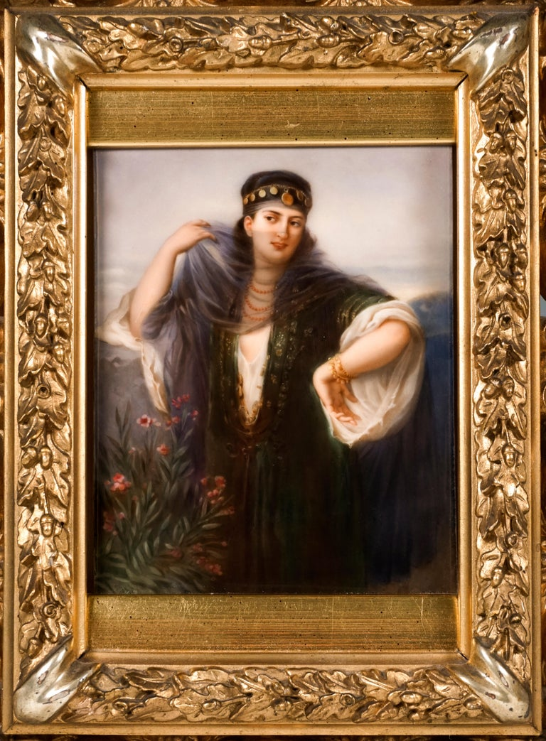 German KPM Berlin Porcelain Picture Plaque Portrait of a Girl with Veil, ca 1830 For Sale