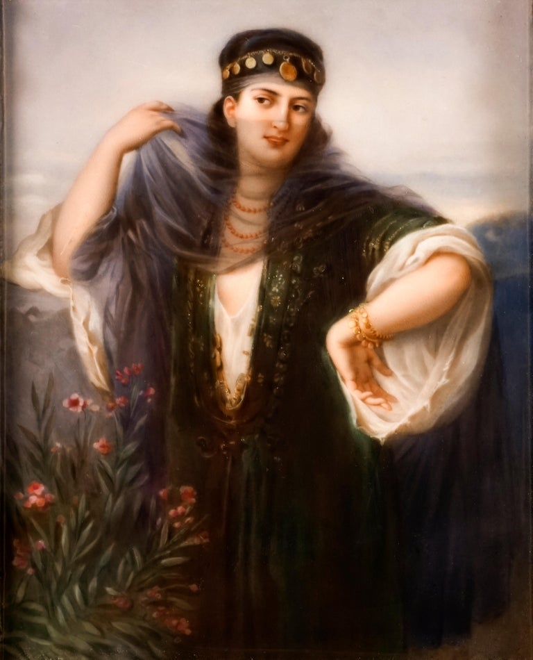 Gilt KPM Berlin Porcelain Picture Plaque Portrait of a Girl with Veil, ca 1830 For Sale