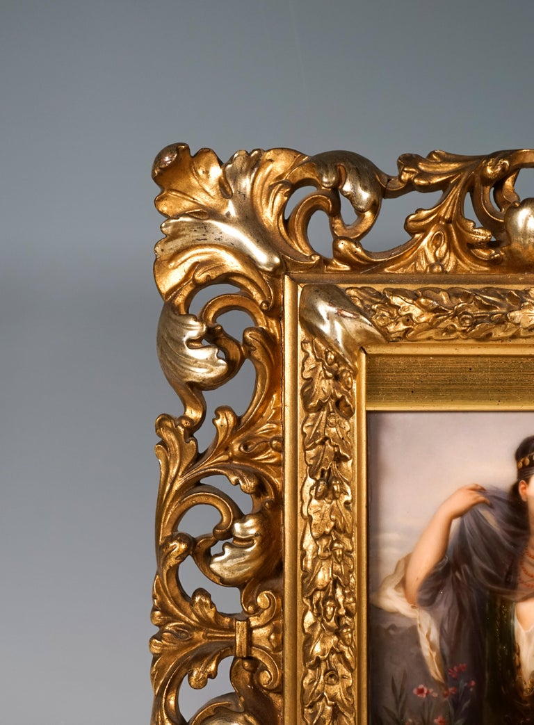 KPM Berlin Porcelain Picture Plaque Portrait of a Girl with Veil, ca 1830 In Good Condition For Sale In Vienna, AT