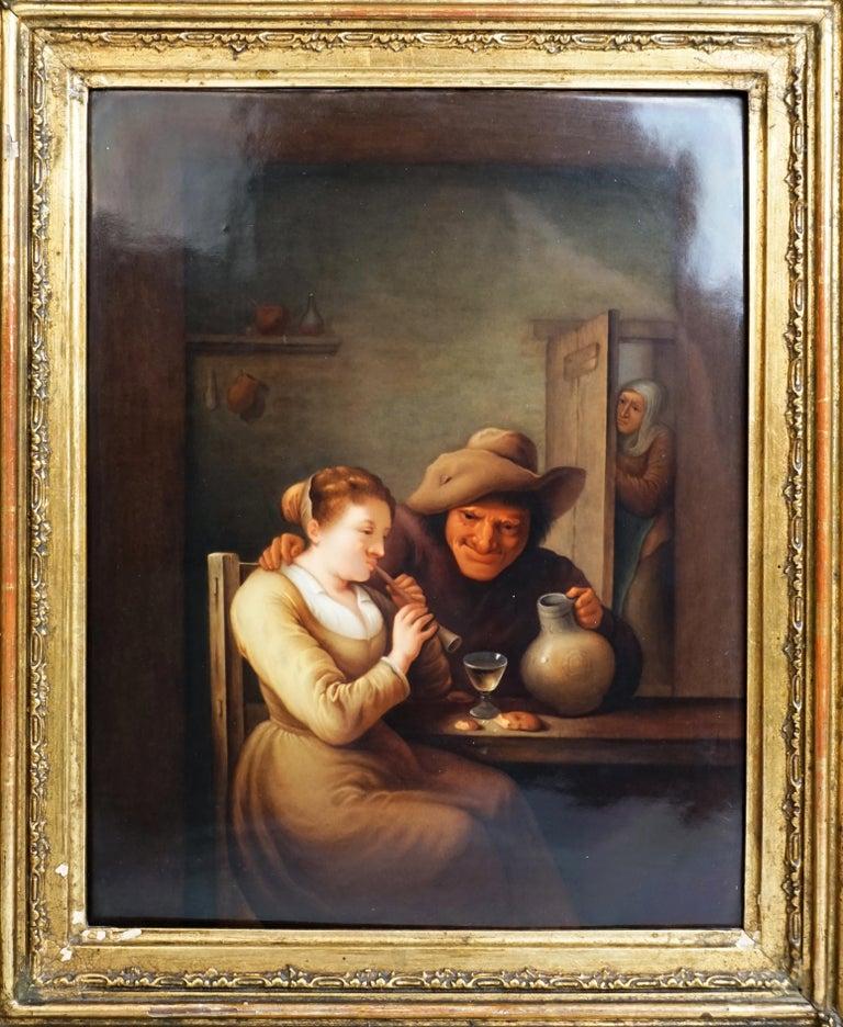 Romantic KPM Berlin Porcelain Plaque Flute Playing Girl Genre Scene, Germany, circa 1840 For Sale