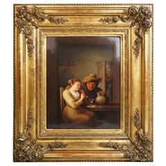 KPM Berlin Porcelain Plaque Flute Playing Girl Genre Scene, Germany, circa 1840