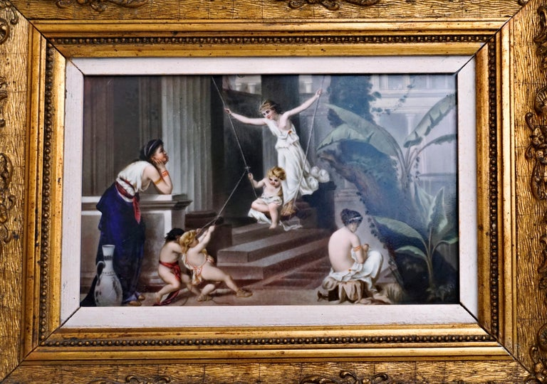Romantic KPM Berlin Porcelain Plaque 'Nymphs and Cupids' Germany, circa 1870 For Sale