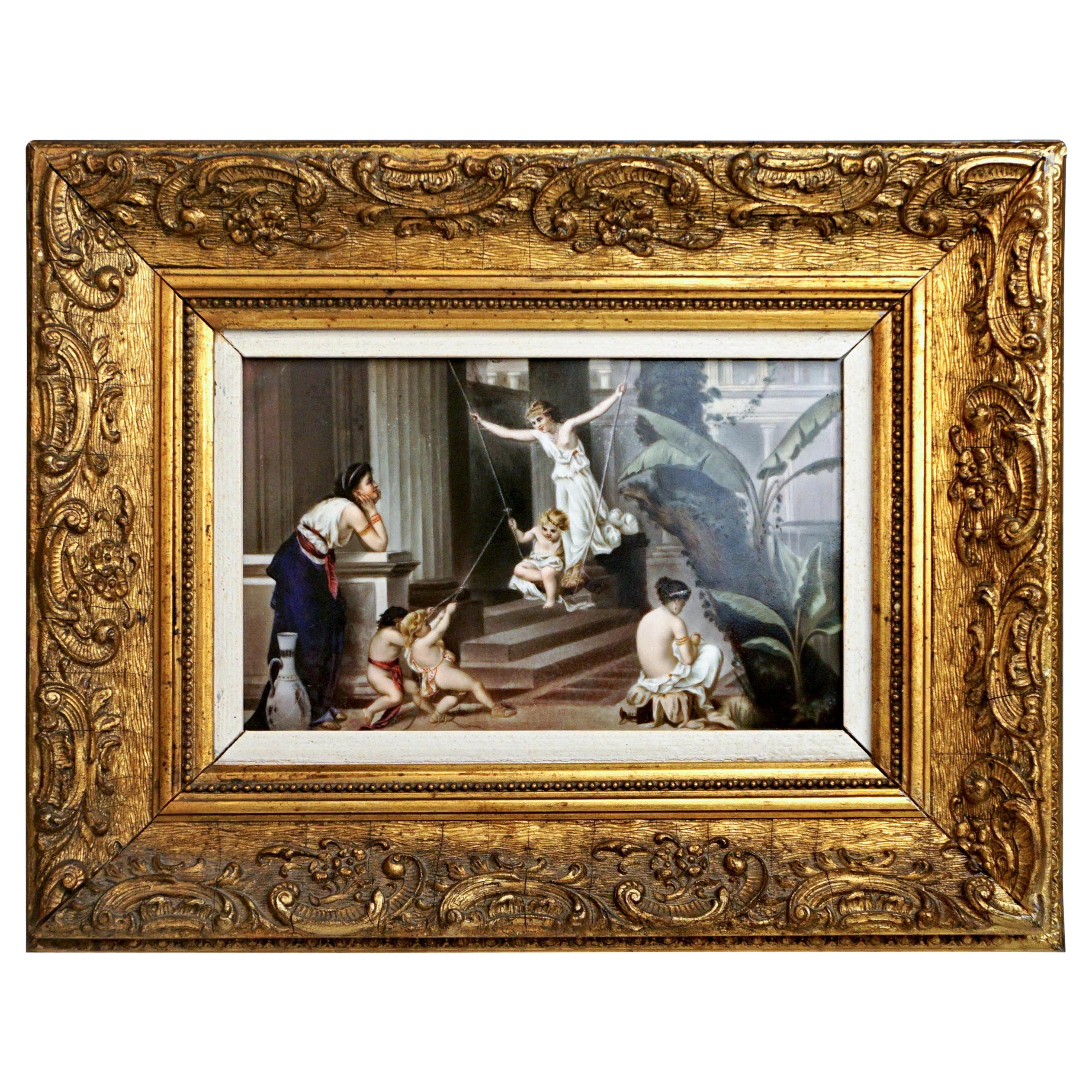 KPM Berlin Porcelain Plaque 'Nymphs and Cupids' Germany, circa 1870