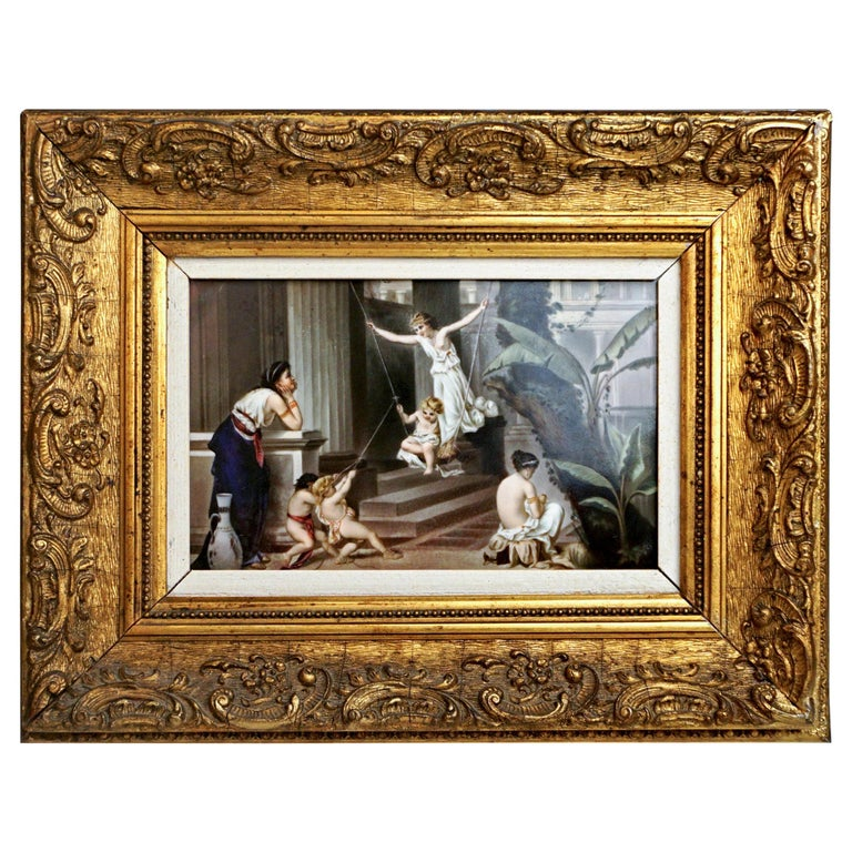 KPM Berlin Porcelain Plaque 'Nymphs and Cupids' Germany, circa 1870 For Sale