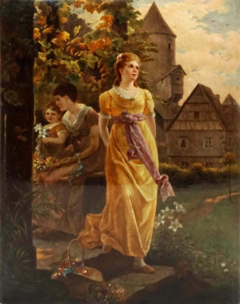 Exquisite porcelain painting in original gilded frame  Depiction of two young women with a child on a summer evening in a village landscape with a castle. Polychrome painted in warm colors, glazed and partially heightened with white. Signed