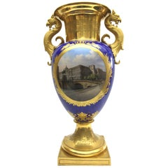 Kpm Berlin Porcelain Vase with View the Royal Palace in Berlin
