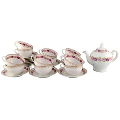 KPM, Berlin, Tea Service for 12 People in Hand Painted Porcelain with Flowers
