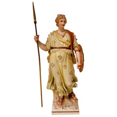 KPM Figure of a Lady Warrior Holding a Spear and a Shield with a Face with Wings