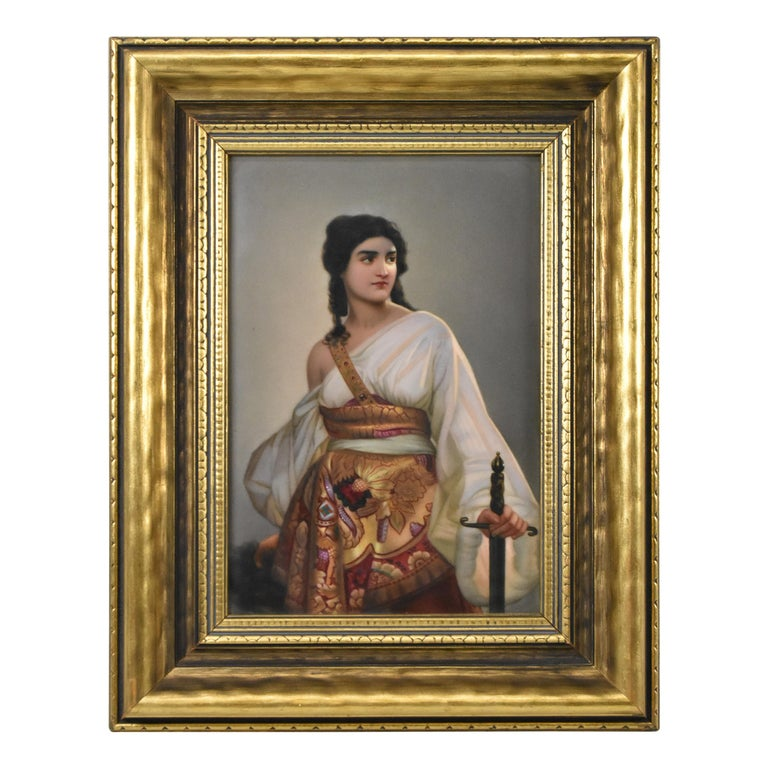 """KPM """"Judith"""" Hand Painted Porcelain Plaque 19th Century H. Buoker For Sale"""