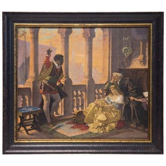 """KPM Large Porcelain Plaque Hand Painted with Venetian Scene from """"Othello"""""""