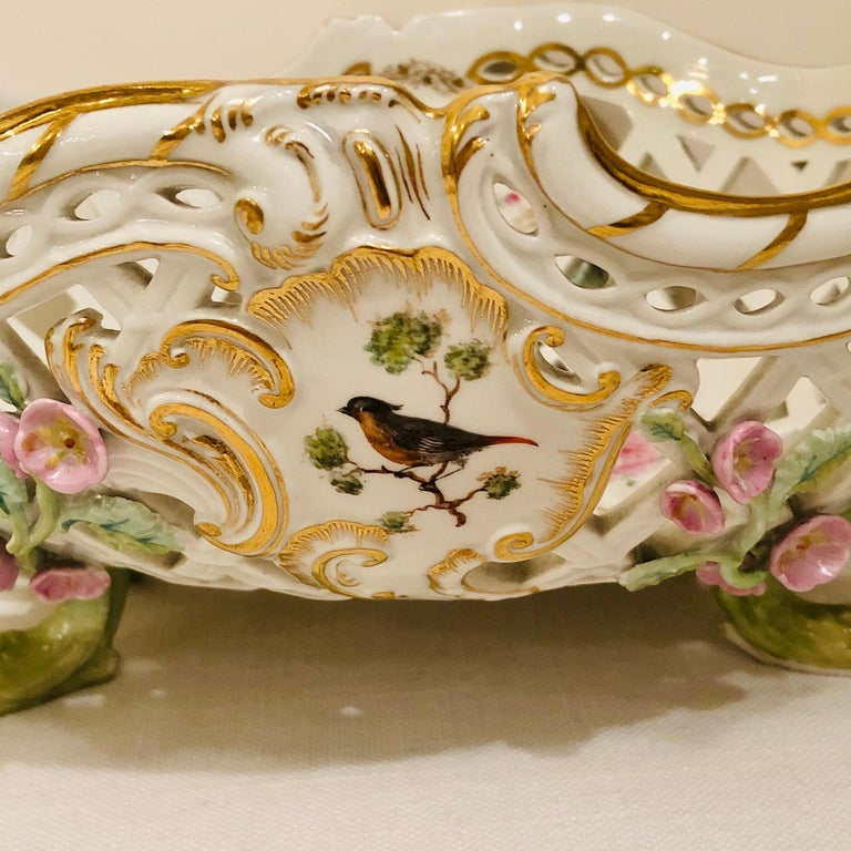 KPM Openwork Bowl with Raised Pink Flowers and Painted Birds on Both Sides For Sale 2