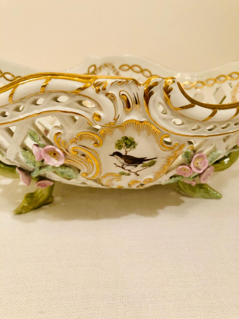 KPM Openwork Bowl with Raised Pink Flowers and Painted Birds on Both Sides For Sale 6