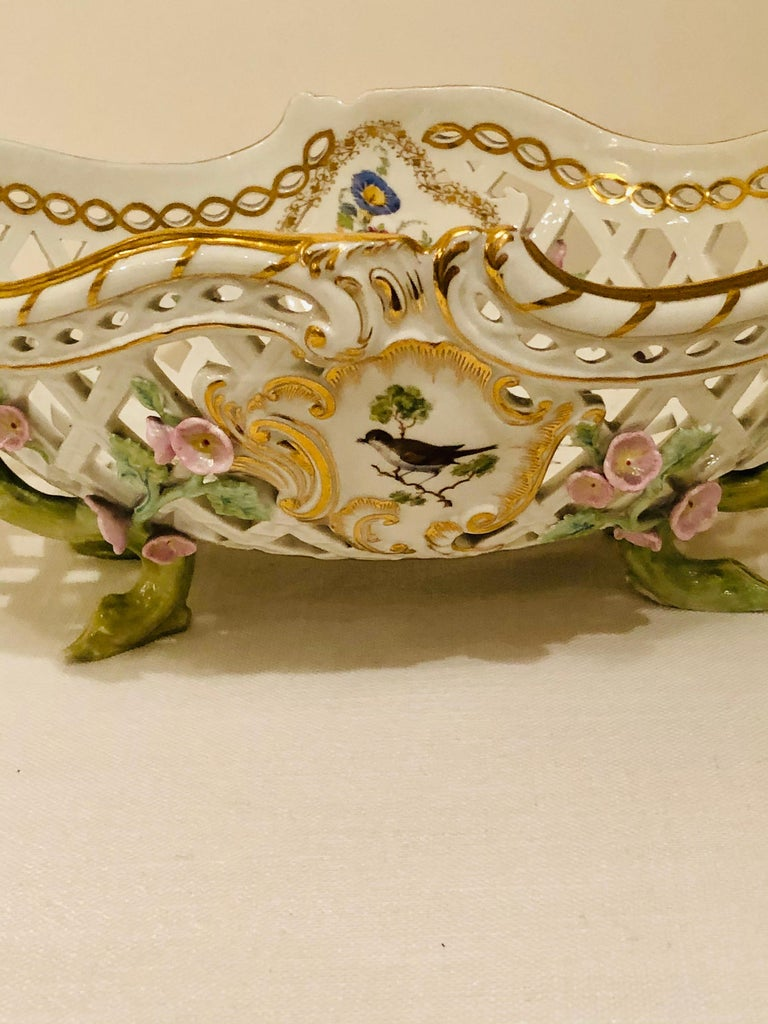 KPM Openwork Bowl with Raised Pink Flowers and Painted Birds on Both Sides For Sale 7