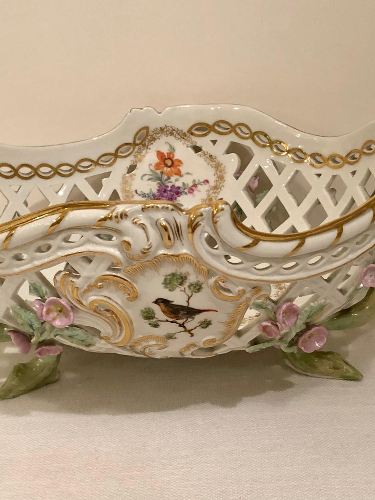 KPM Openwork Bowl with Raised Pink Flowers and Painted Birds on Both Sides For Sale 8