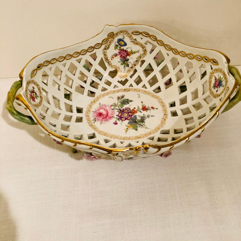KPM Openwork Bowl with Raised Pink Flowers and Painted Birds on Both Sides For Sale 9