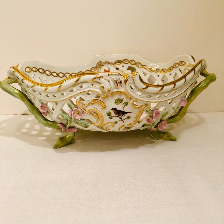 KPM Openwork Bowl with Raised Pink Flowers and Painted Birds on Both Sides For Sale 10