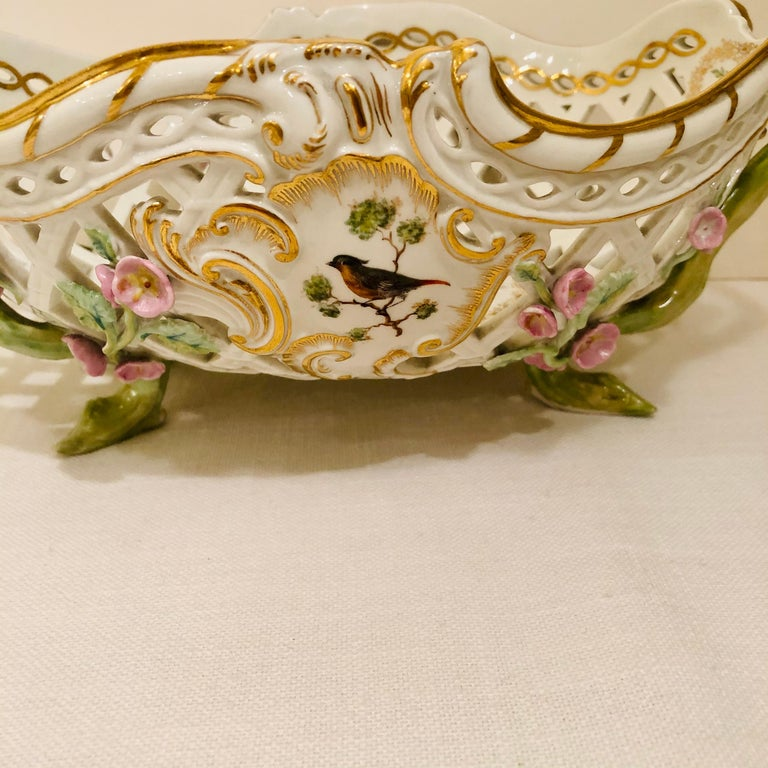 KPM Openwork Bowl with Raised Pink Flowers and Painted Birds on Both Sides For Sale 11