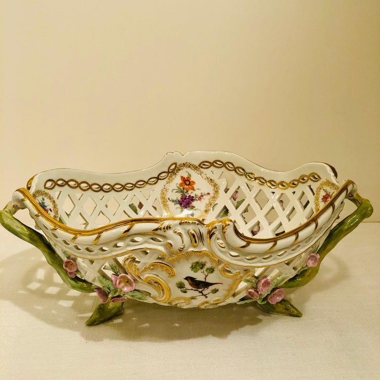 Romantic KPM Openwork Bowl with Raised Pink Flowers and Painted Birds on Both Sides For Sale
