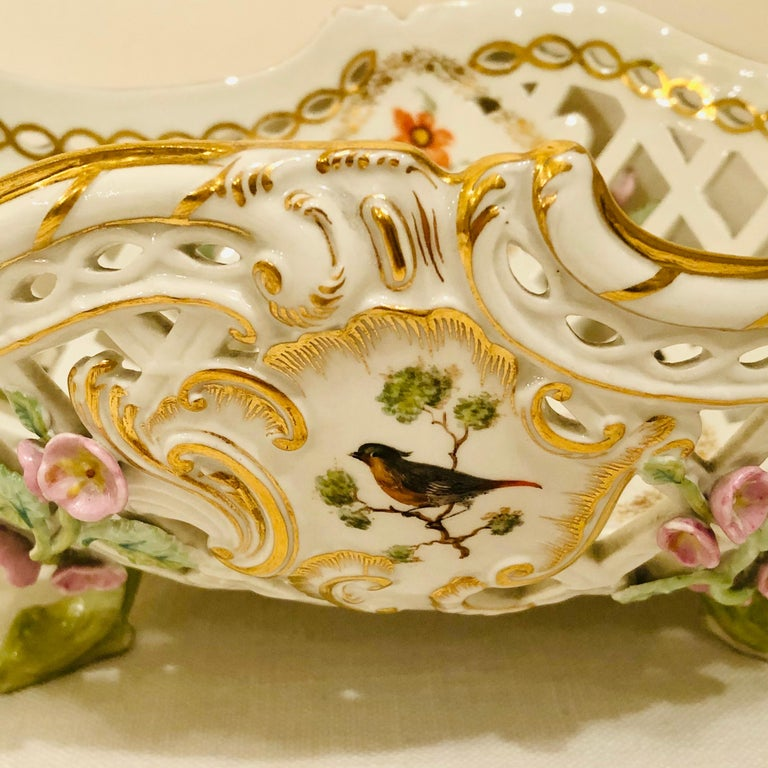 German KPM Openwork Bowl with Raised Pink Flowers and Painted Birds on Both Sides For Sale