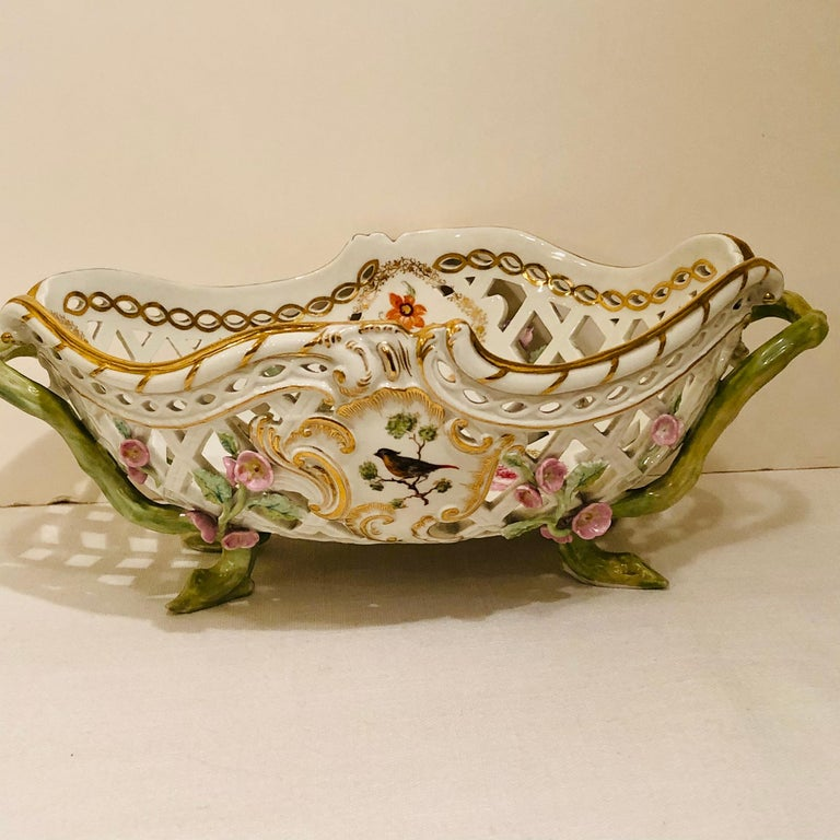 Hand-Painted KPM Openwork Bowl with Raised Pink Flowers and Painted Birds on Both Sides For Sale