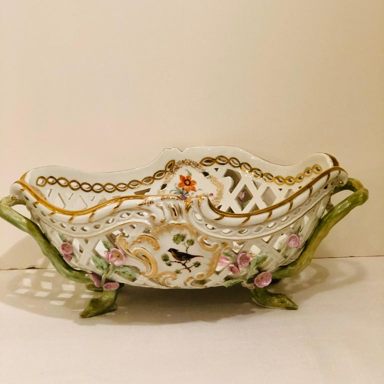 KPM Openwork Bowl with Raised Pink Flowers and Painted Birds on Both Sides In Good Condition For Sale In Boston, MA
