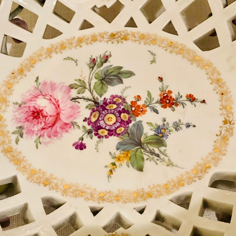 Late 19th Century KPM Openwork Bowl with Raised Pink Flowers and Painted Birds on Both Sides For Sale