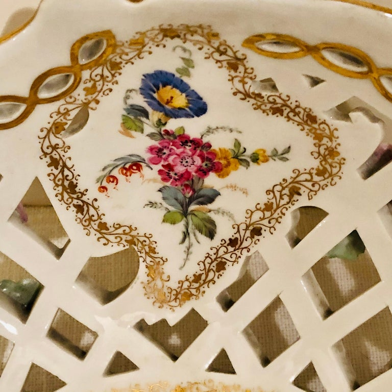 Porcelain KPM Openwork Bowl with Raised Pink Flowers and Painted Birds on Both Sides For Sale
