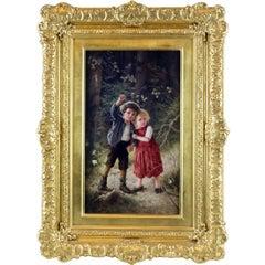 KPM Painted Porcelain Plaque of Hansel and Gretel