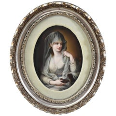 Kpm Painting on Porcelain Vestal Virgin with Oil Lamp Goddess of the Hearth