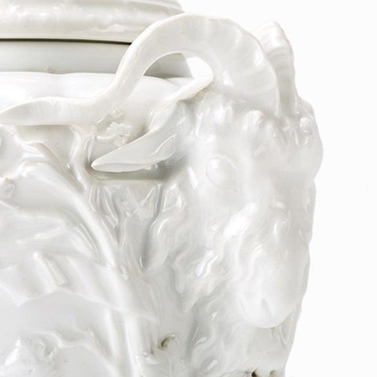 KPM Berlin, pair Potpourri vase, 1904 Porcelain, white glazed Royal Porcelain Manufactory Berlin(KPM), founded 1763, 1904 Each underglazed blue sceptre mark with a single stroke; a vase with the year sign