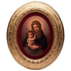 KPM Porcelain German Hand Painted Madonna Child Oval Plaque Gilded Frame
