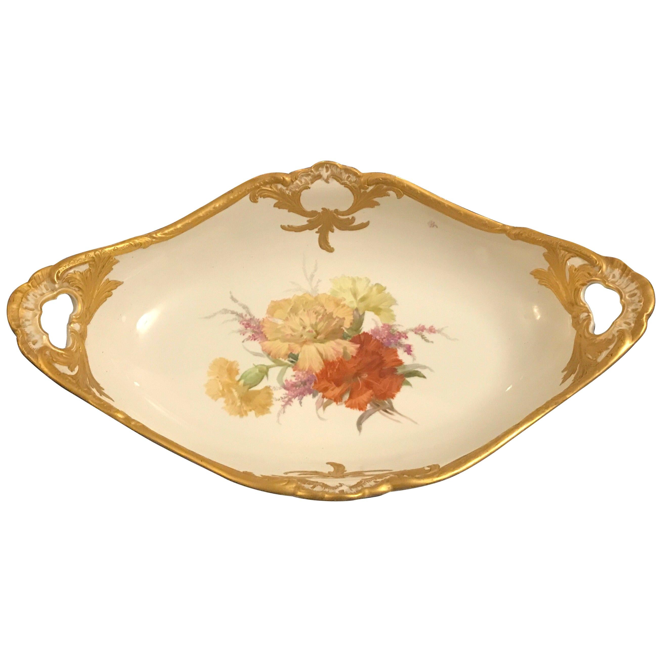 KPM Porcelain Hand Painted Oval Bowl, 19th Century