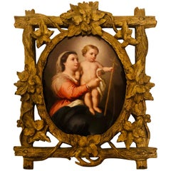 KPM Porcelain Plaque of Madonna and Child in Gilded Black Forest Frame