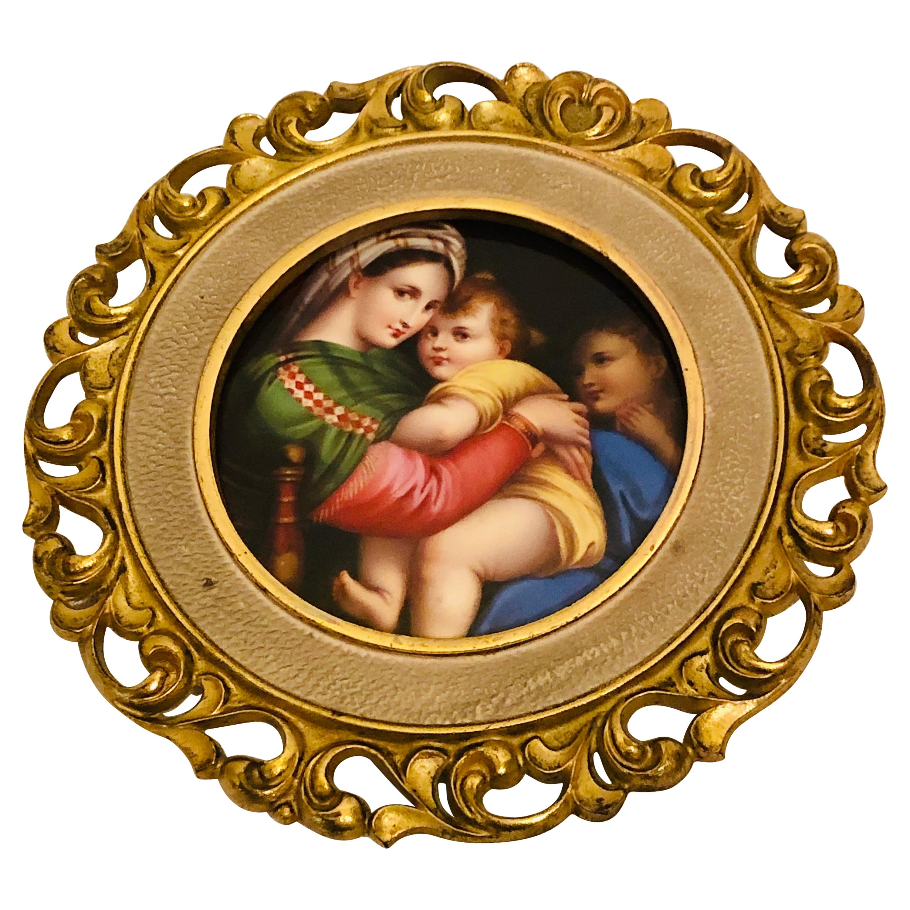 KPM Porcelain Plaque of Mary and Her Child after Madonna of the Chair Painting