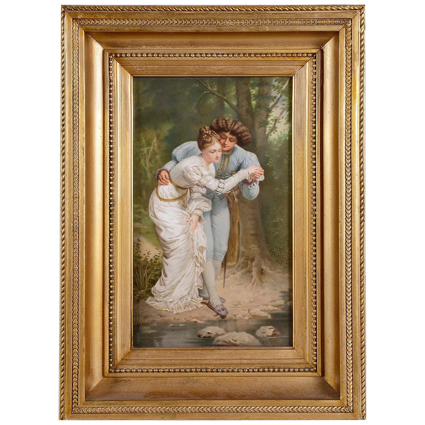 KPM Porcelain Plaque, of Young Lovers