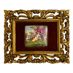 KPM Style Hand Painted Medieval Time Scene Plaque