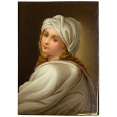 KPM Style Hand Painted Plaque of a Portrait of Beatrice Cenci