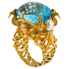 Kraken Ring 18 Karat Yellow Gold with Swiss Blue Topaz, Diamonds and Pearls