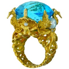 Kraken Ring 18 Karat Yellow Gold with Swiss Blue Topaz, Diamonds and Pearls
