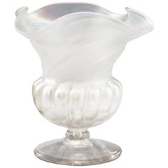 Kralik Art Nouveau Irisdescent Glass Flower Head Pedestal Vase