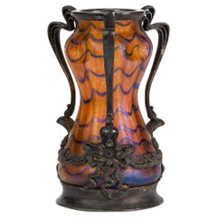 Kralik Art Nouveau Metal Mounted Iridescent Art Glass Vase, 1900