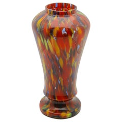 Kralik Baluster Vase with Fire Decor, Multicolored Spatterglass 'End-of-day'