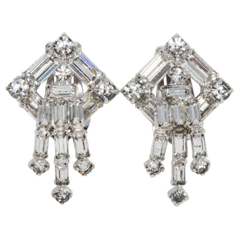 Kramer Art Deco Style Crystal Clip on Dangle Earrings in Silver, Early 1900s For Sale