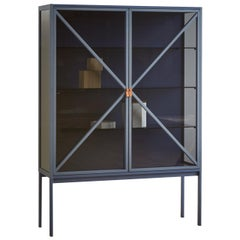 Kramer Large Vertical Cabinet in Intense Blue Lacquered Frame by E-GGS