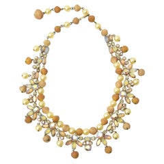 Kramer Rhinestone, Faux Pearl & Resin Collar Necklace Vintage
