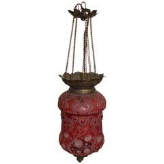Krasna Red Crystal Lantern, Signed Art Nouveau
